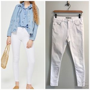 Topshop Leigh White Moto Skinny Jeans Soft Stretch